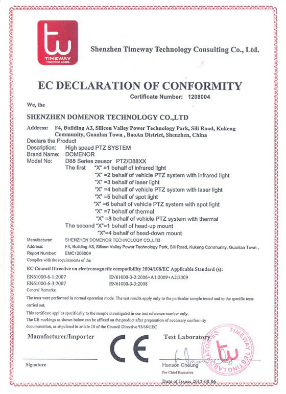 Domenor-EC Certificate of 88 Series